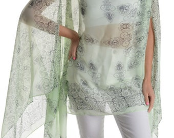 Womens Juniors Fashion Shawl Tunic Poncho Paisley Mint Green Cover Up One Size Top