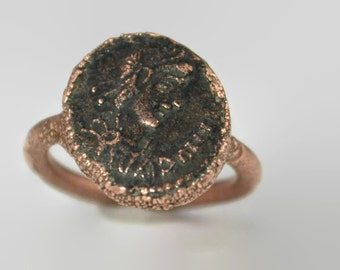 Genuine Roman Coin Ring Made To Order, Coin Ring,Roman Coin Ring,Ancient Roman Coin Ring, Copper Ring, Ancient Coin Ring, Bronze Coin Ring