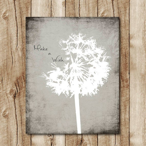 Dandelion Print Neutral Colors Grey Wall Decor Make A Wish