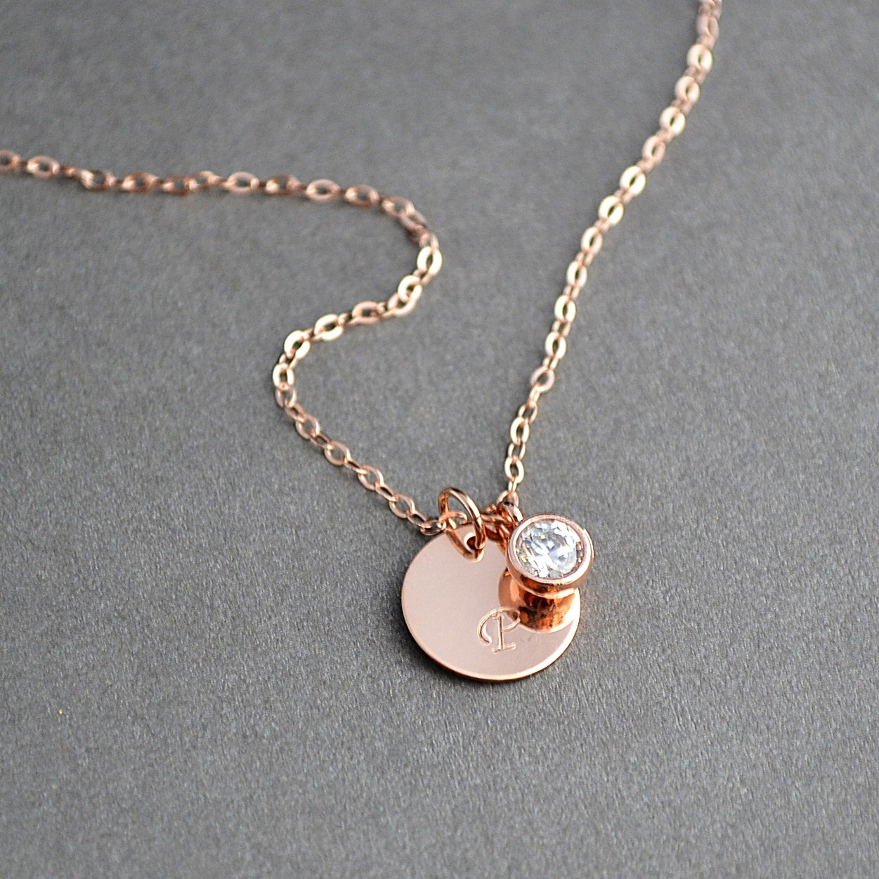 rose gold initial necklace personalized necklace bridesmaid
