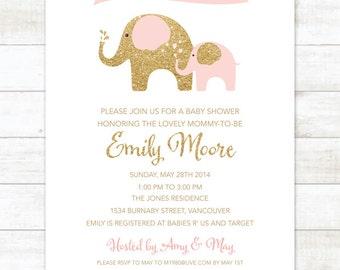 pink gold elephant baby girl shower invitation pink gold glitter elephants shower invite printable modern shower digital invite