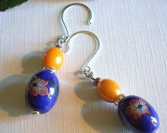 Blue and Orange Porcelain Earrings