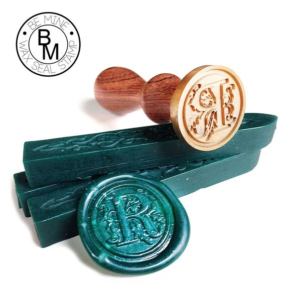 Wax seal stamp letter initial floral font by beminewaxseal for Letter seal stamp