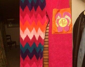 Flip Flop Themed Teen Girl Towel Pants With monogrammed  pocket Pinks