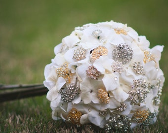Handmade, Custom Brooch Bouquet composed of Faux Hydrangeas in white with Gold & Silver Rhinestone Brooches