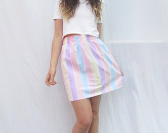 Handmade Elasticated Waist Mini Skirt in Pastel Stripes