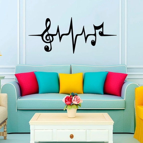 Musical Vinyl Wallpaper: Wall Decals Music Puls Decal Vinyl Sticker Treble By CozyDecal