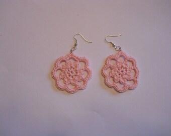 Pink crochet flower earrings