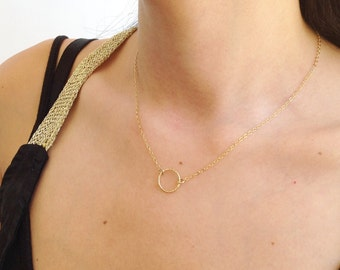 Gold necklace, gold circle necklace,gold filled necklace, carma necklace - 10050