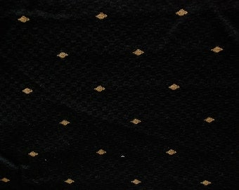 Black and Gold Upholstery Fabric - Embroidered Gold Diamond Fabric - Upholstery Fabric By The Yard