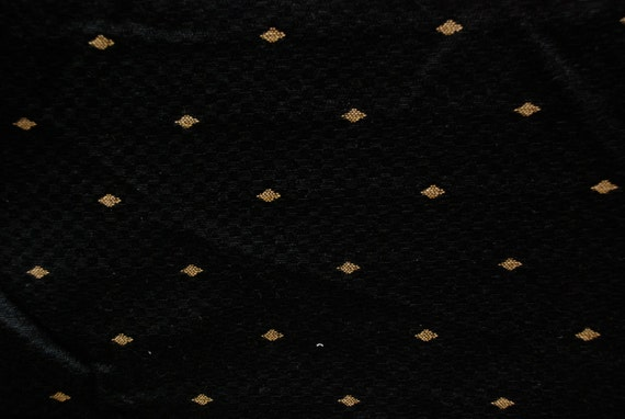 Black And Gold Upholstery Fabric Embroidered Gold Diamond