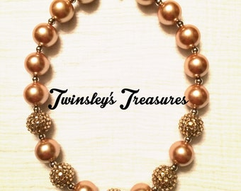 Champagne Sparkle Chunky Beaded Bubblegum Necklace