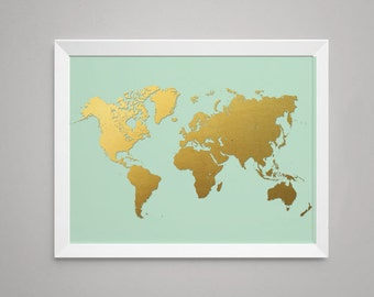 World Map in Printed Gold Foil on Mint, - Print, Artwork, Poster - Faux Gold Foil Print, Mint and gold (1170-mint)