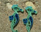 Paper Quilled Seahorse Earrings - beach earrings, paper quilling seahorse earrings, paper seahorse, paper earrings, seahorse jewelry