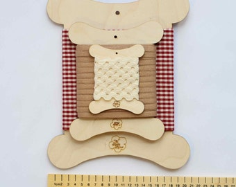 Sewing storage - flat wooden spools for storing trimmings and fabrics