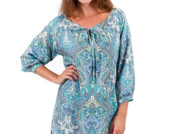 Eva Long Sleeve Rayon Day Dress – Teal