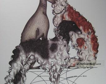 Composure - Borzoi & Greyhound Signed Print