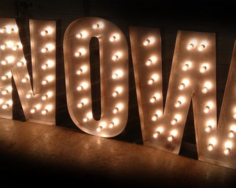 4ft / 120cm Distressed Silver Giant Letter Lights WOW - Made In Britain