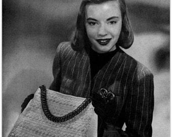 Vintage Crochet Pattern -  Digitally Restored 1940's Handbag Purse Pattern - Satchel Bag -  PDF - Instant Download