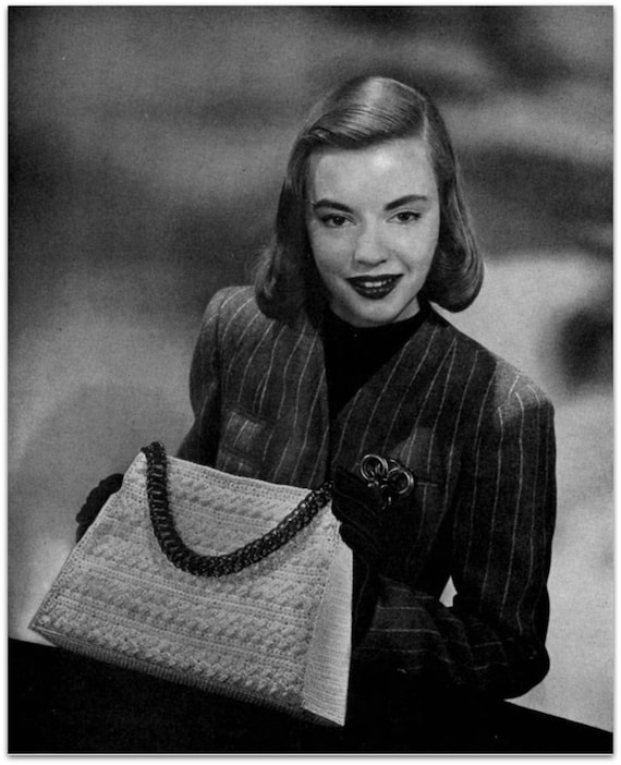 Retro Handbags, Purses, Wallets, Bags Vintage Crochet Pattern -  Digitally Restored 1940s Handbag Purse Pattern - Satchel Bag -  PDF - Instant Download $2.54 AT vintagedancer.com
