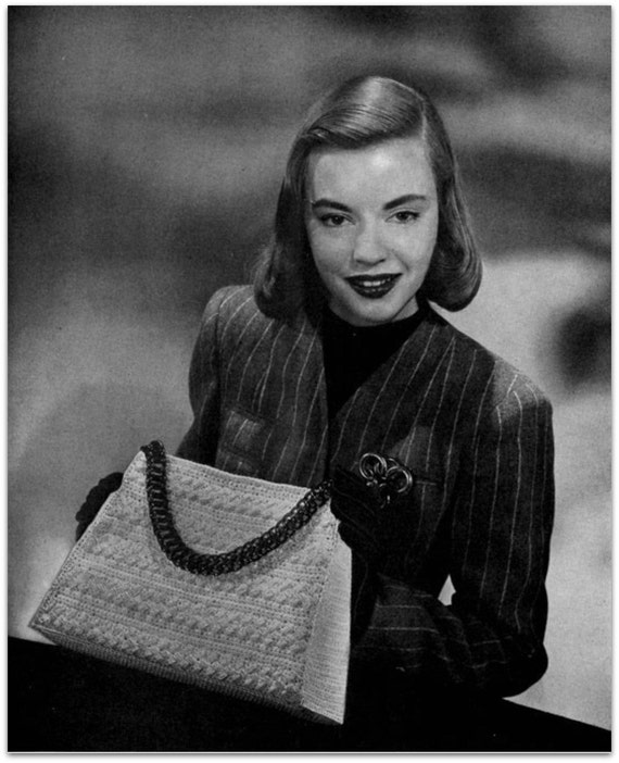 1940s Handbags and Purses History Vintage Crochet Pattern -  Digitally Restored 1940s Handbag Purse Pattern - Satchel Bag -  PDF - Instant Download $2.54 AT vintagedancer.com