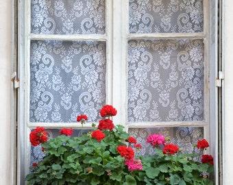 Paris photography, Paris window box, flower box, geraniums, Paris window, French wall art, Paris decor, home decor, fine art print