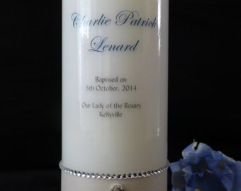 Christening or Baptism personalised Candle with cross embellishment (74mm x 200mm)
