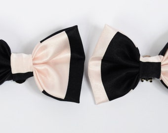 Pale Pink and Black Stripe Silk Bow Shoe Clips (set of two), handmade in the UK