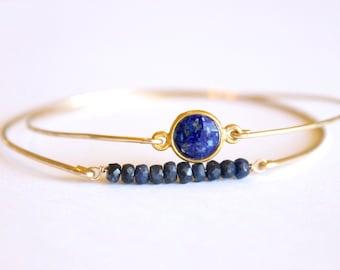 Genuine Sapphire Bangle - 14k Gold Bangle - Bead Bar Bangle - Gold Bracelet - Beaded Bracelet - Blue Bridesmaids - September Birthstone Thin