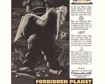 DIGITAL IMAGE - Forbidden Planet - Robbie the Robot - Movie Ad - DIY Printing for Wall Decor or Use in Crafts - Immediate Download!