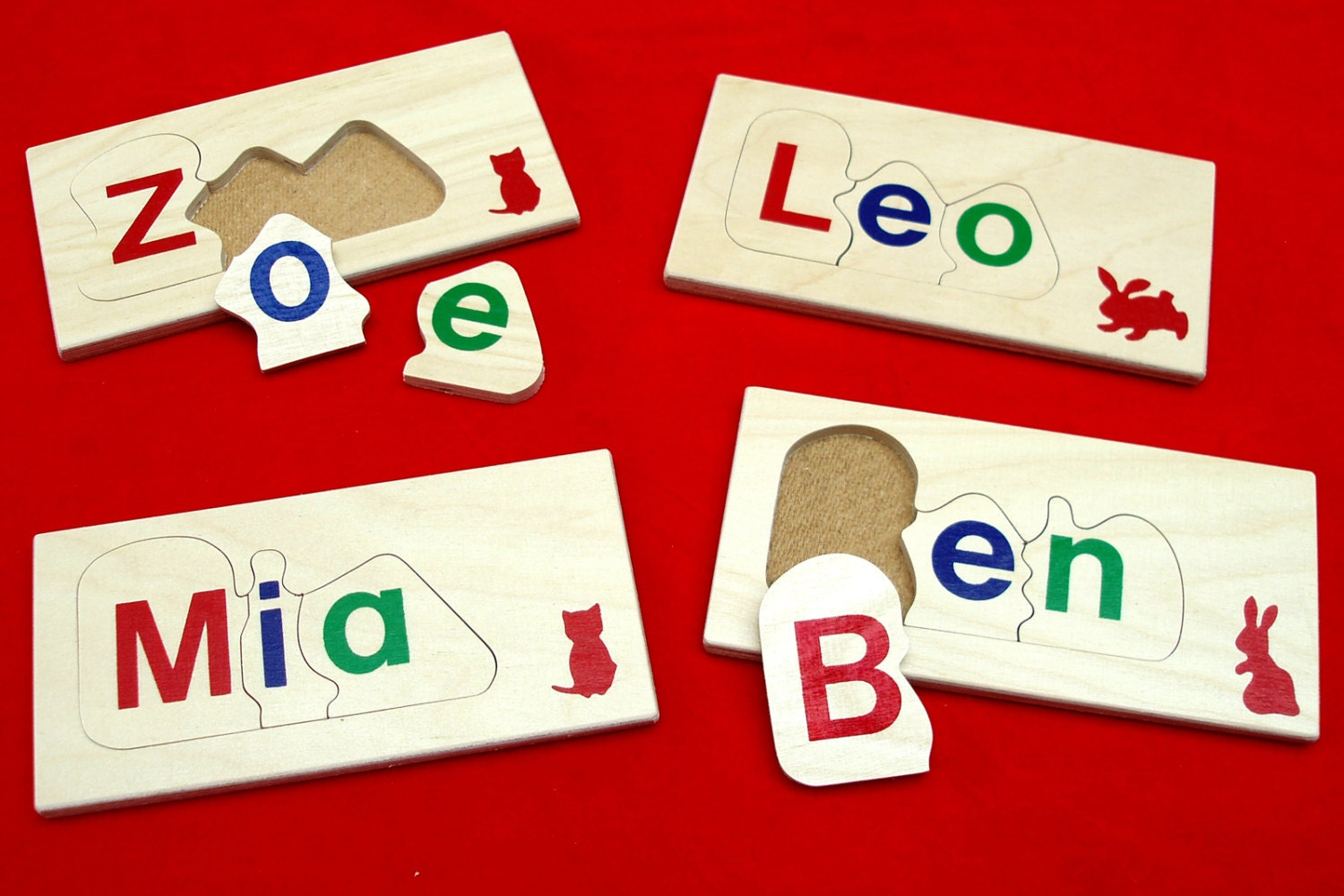 Children\'s wooden name jigsaw puzzle - 3 letters - personalised ...