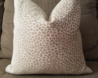 Handmade Decorative Pillow Cover - Animal Print - Leopard - Neutral - Chenille