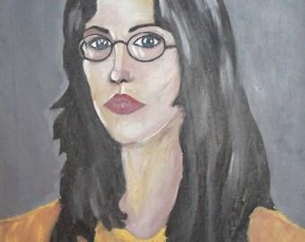 Vintage oil painting woman portrait