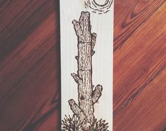 Cactus 1: Wood burning art