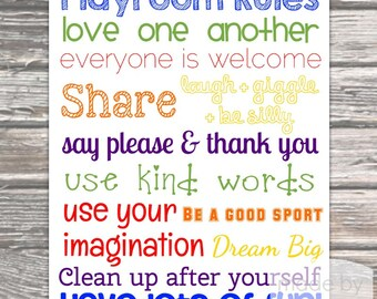 16x20 Playroom Rules Poster- Digital Download