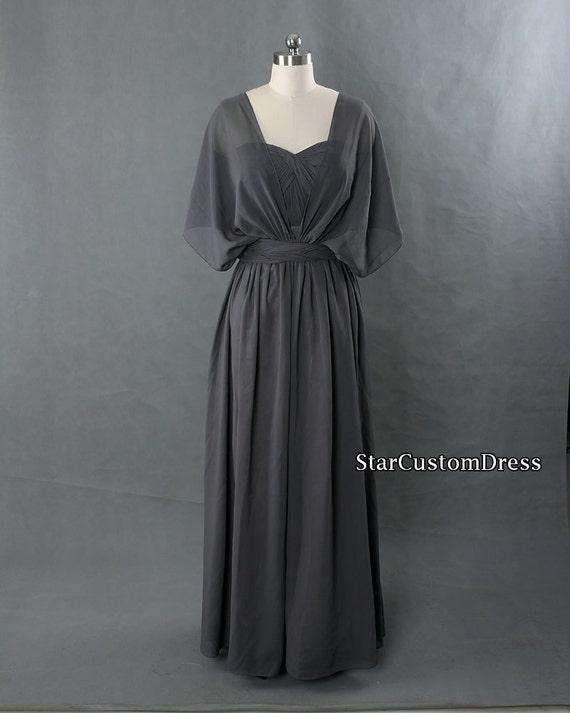Dark grey bridesmaid dress long convertible by starcustomdress for Dark grey wedding dresses