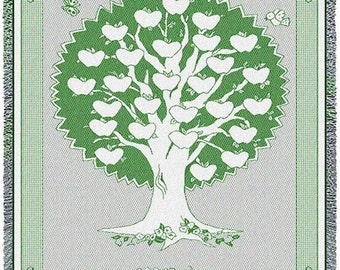 Family Tree Quilt - Monogram Family Tree Blanket Hunter Personalized