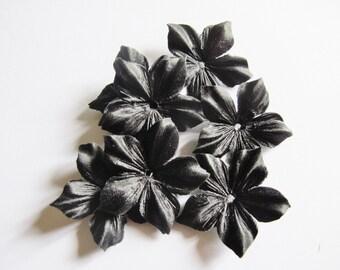 2 black silk Duchess satin flowers shaped size 35 mm