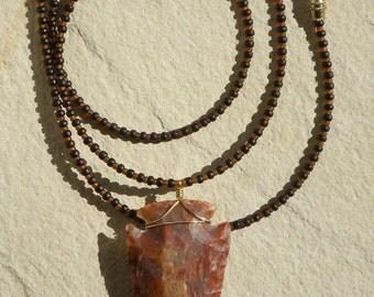 Large Burnt Orange Arrowhead Necklace