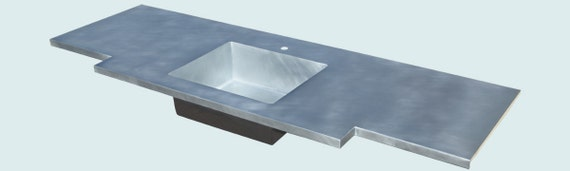 Zinc countertop with integral sink extended by for Zinc countertop cost