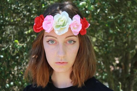 Tricolor Rose Flower Crown