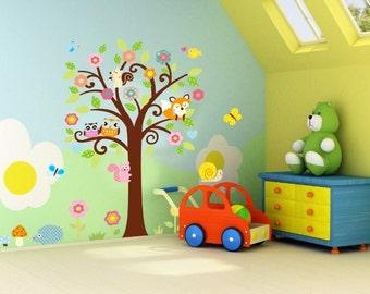 Kids tree wall decal, Tree wall decal, Nursery wall decal, Kids wall decak, Tree with cute animals wall decal