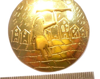Pendant gold plated  - Girl with umbrella and house