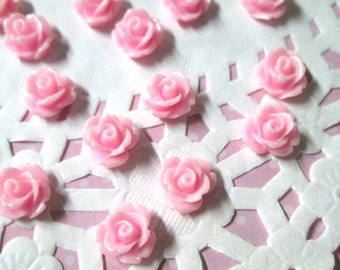 Pink 10mm rose flower cabochons, cute cabs for embellishment and jewelry