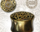 "Ornate Flower Of Life Antiqued Brass Tunnels Tribal Plugs 0g, 00g,12mm 1/2"", 14mm 9/16"", 16mm 5/8"" Ear Gauges Double Flared Plug Gauge"