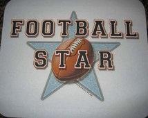 Athletic FOOTBALL Player Super STAR- Boys Mouse Pad ~ Son, Grandson, Nephew, Little League