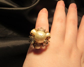Faux Pearl and Aurora Borealis Elegant Upcycled Adjustable Ring