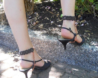 Pair of Heelers in Black and Copper. Foot/ankle accessories