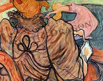 """Henri de Toulouse-Lautrec """"At the Nouveau Cirque The Dance and Five Stuffed Shirts"""" 1891 Reproduction Print Woman Art Nouveau"""