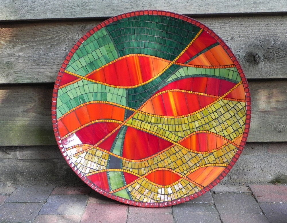 Mosaic Art Abstract Stained Glass Mosaic Dish In Red